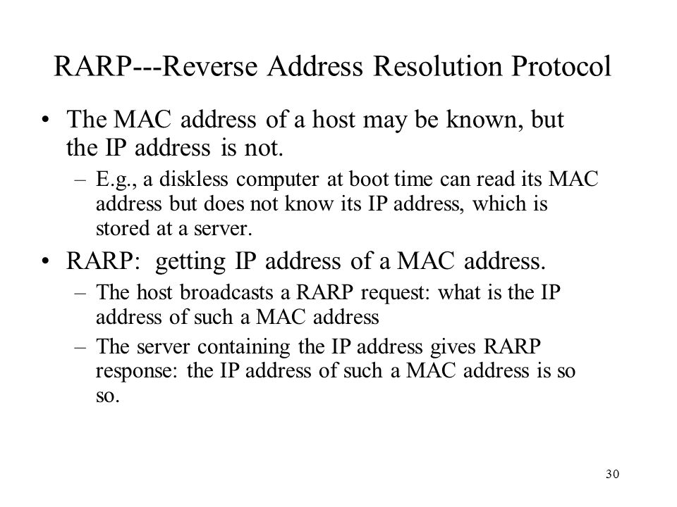 RARP---Reverse Address Resolution Protocol