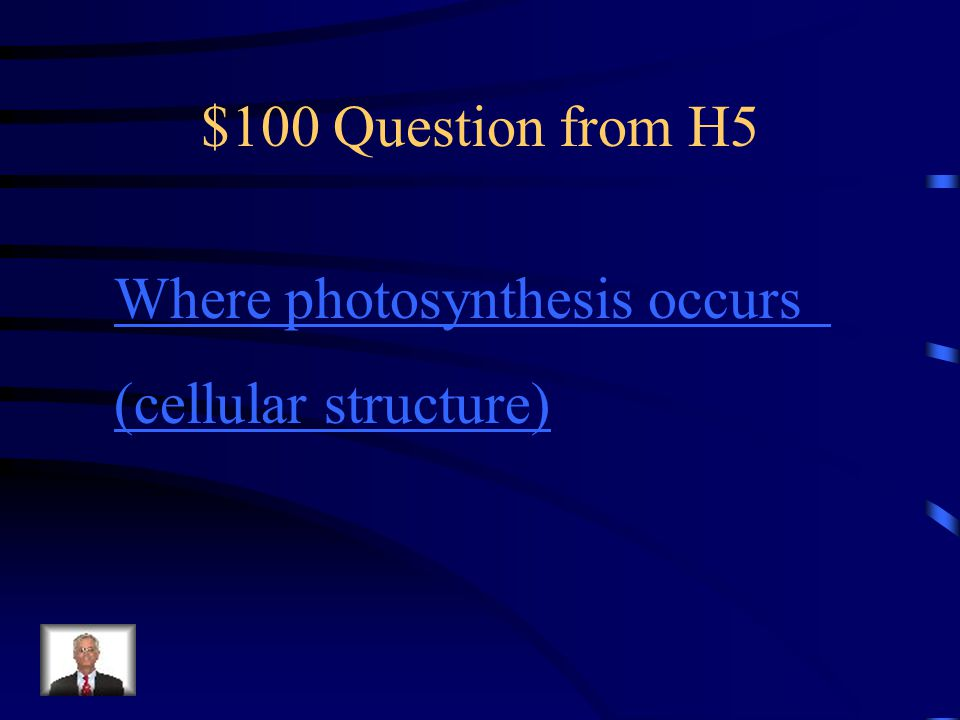 $100 Question from H5 Where photosynthesis occurs (cellular structure)