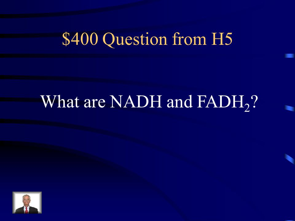 $400 Question from H5 What are NADH and FADH2