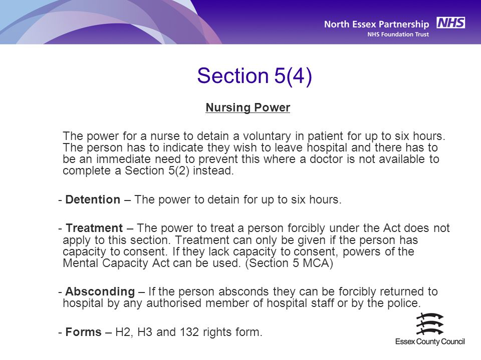 Section 5(4) Nursing Power