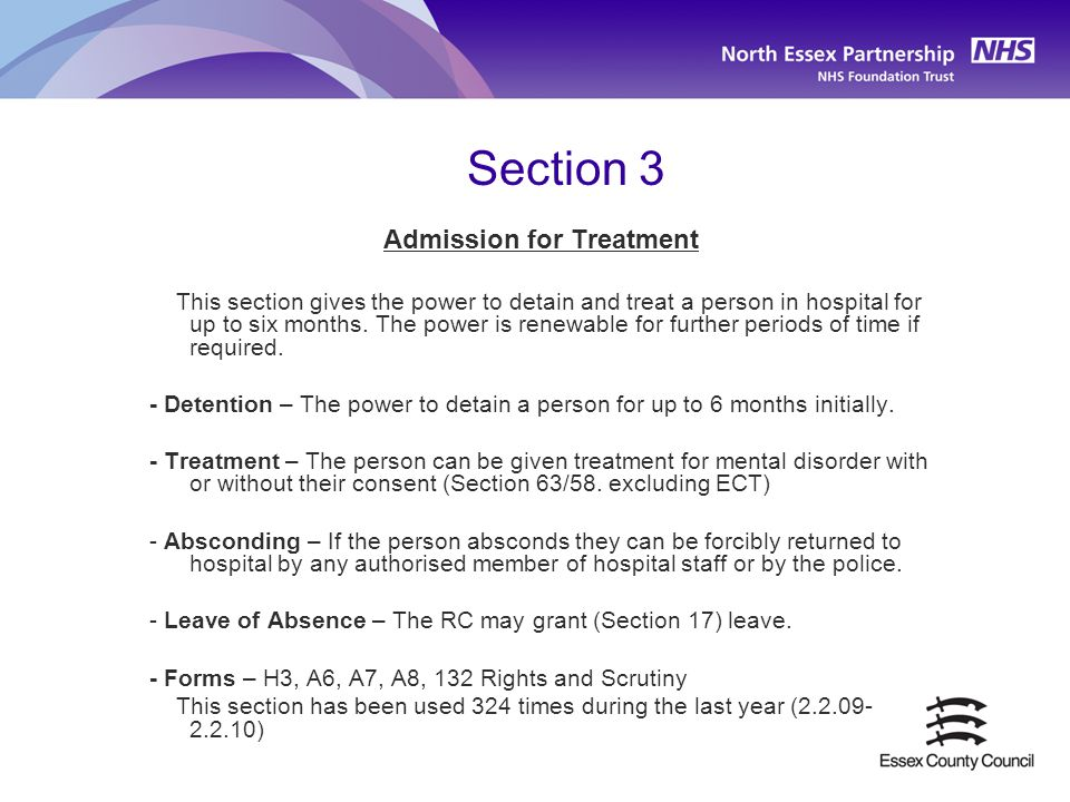 Admission for Treatment