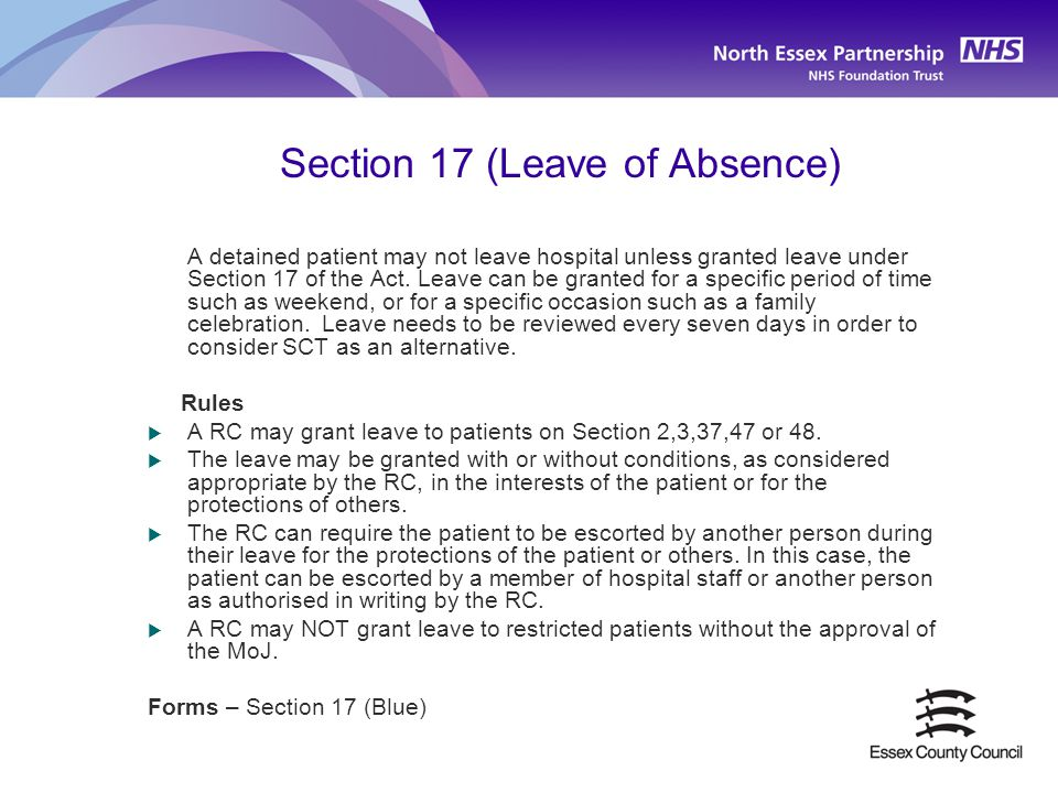 Section 17 (Leave of Absence)