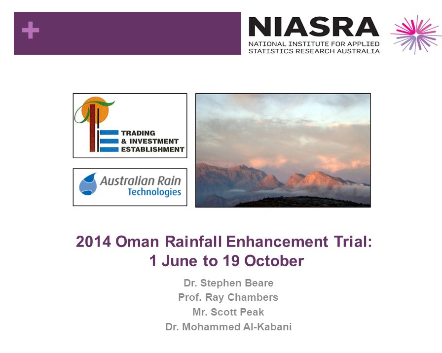 2014 Oman Rainfall Enhancement Trial: 1 June to 19 October