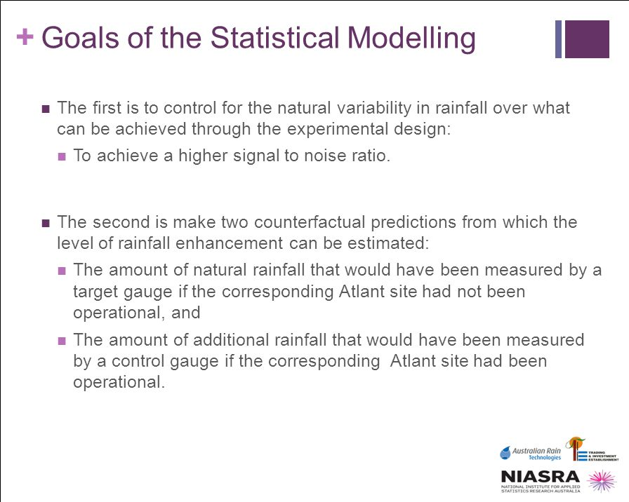 Goals of the Statistical Modelling