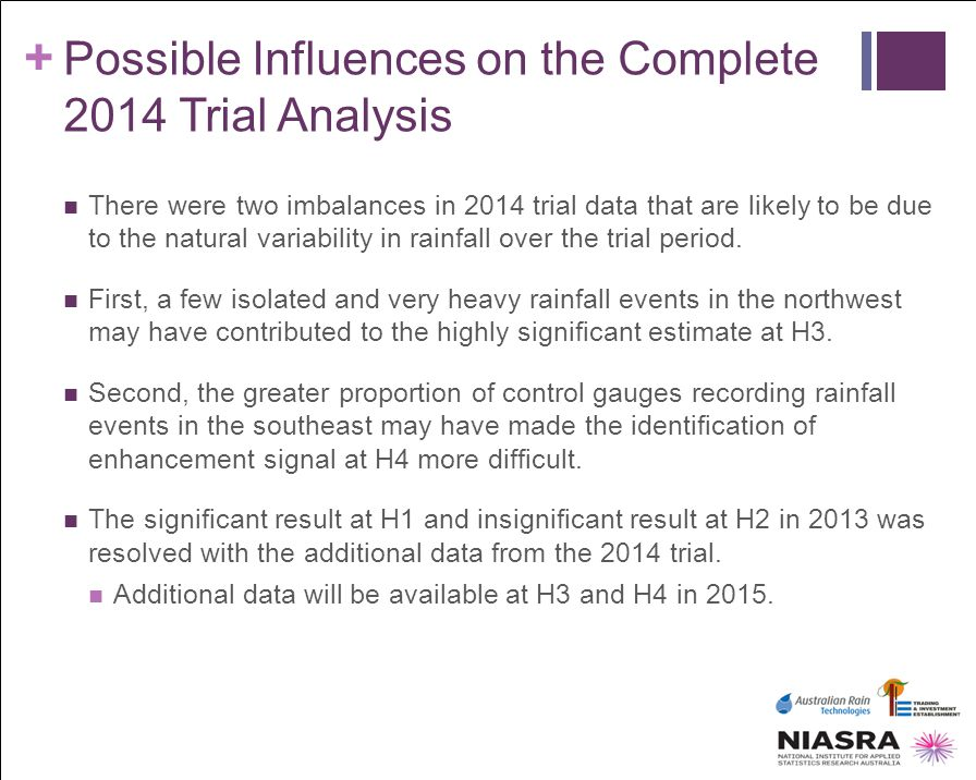 Possible Influences on the Complete 2014 Trial Analysis