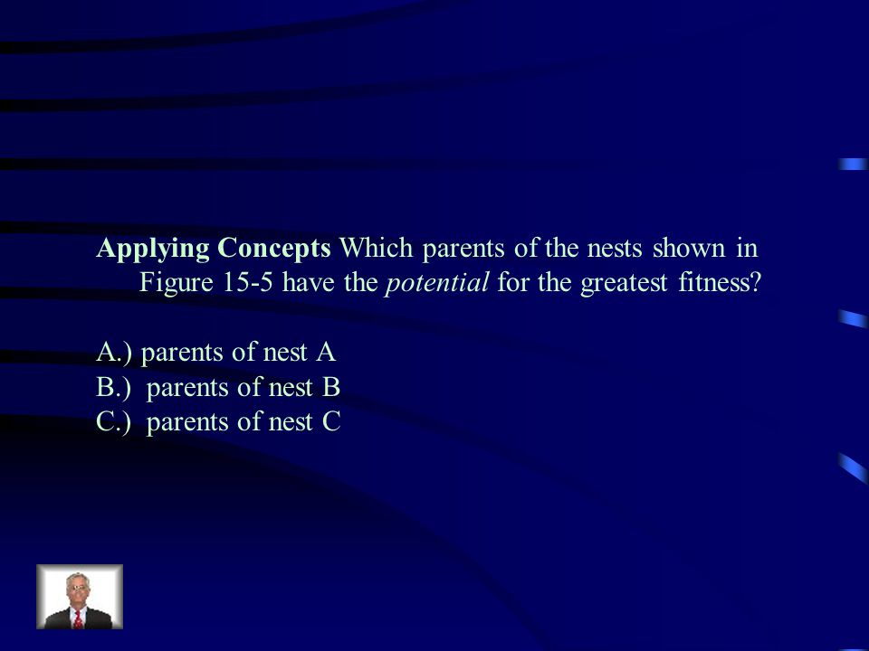 Applying Concepts Which parents of the nests shown in Figure 15-5 have the potential for the greatest fitness
