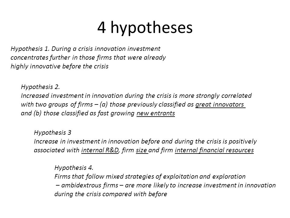 4 hypotheses Hypothesis 1. During a crisis innovation investment