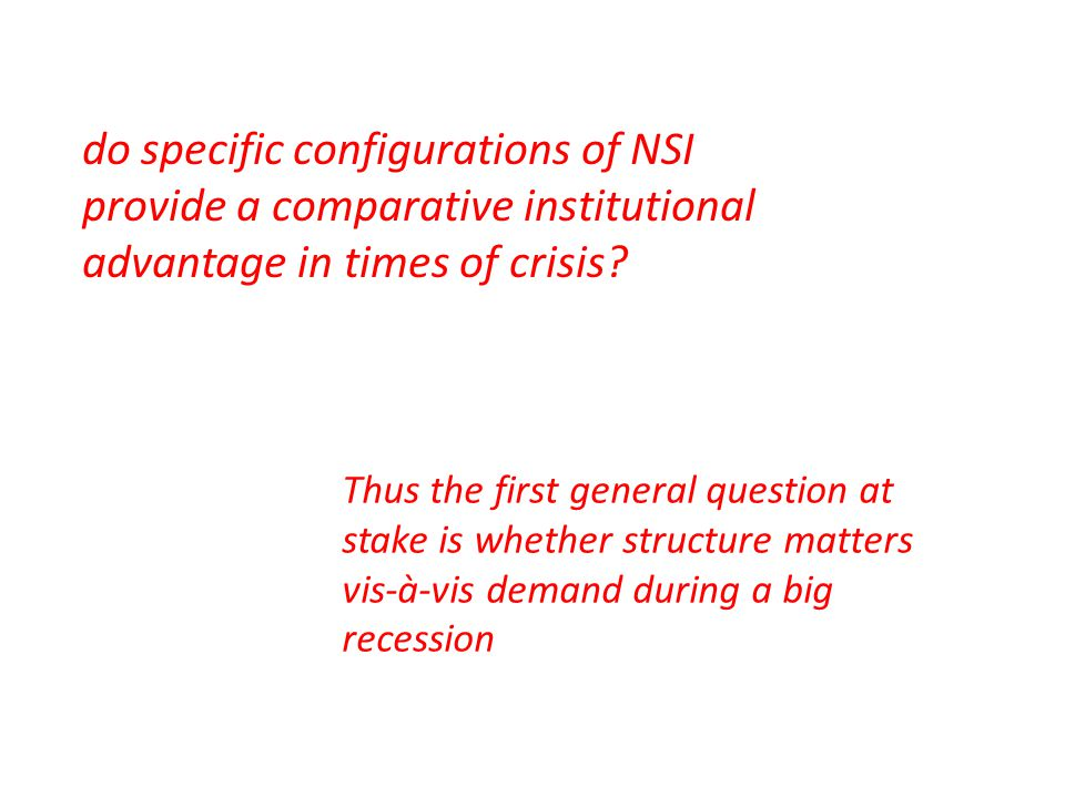 do specific configurations of NSI provide a comparative institutional advantage in times of crisis