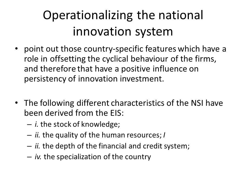 Operationalizing the national innovation system