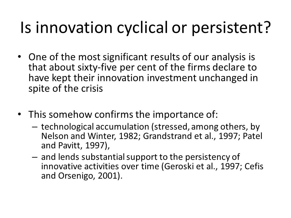 Is innovation cyclical or persistent