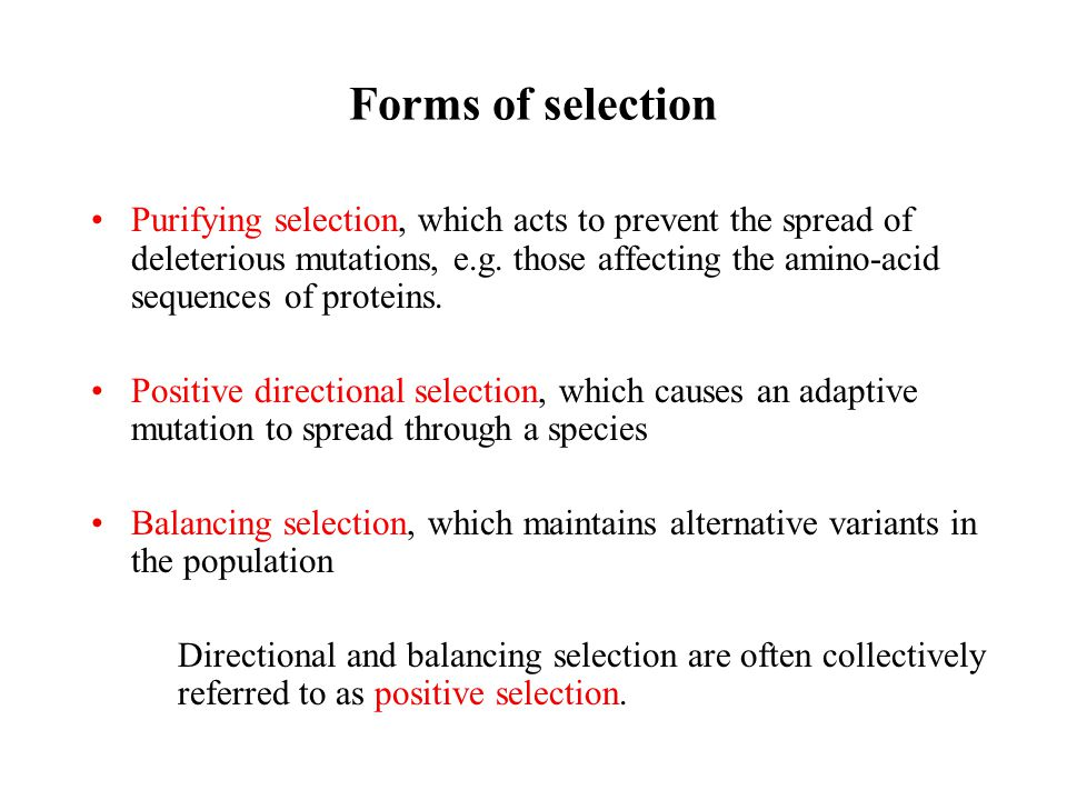 Forms of selection