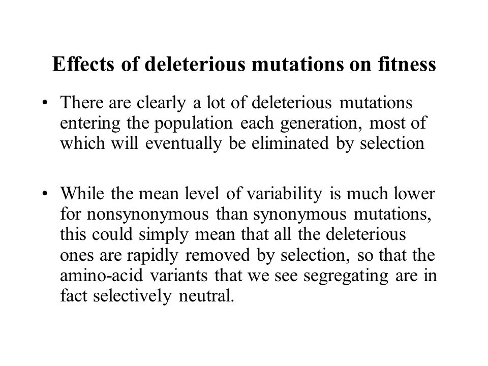 Effects of deleterious mutations on fitness