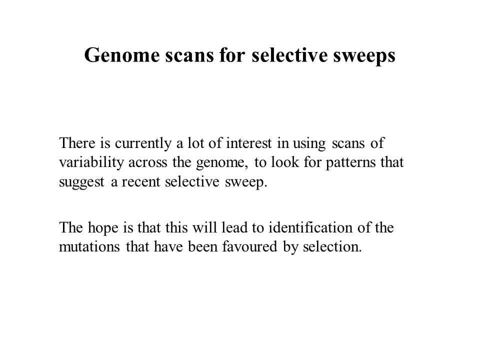 Genome scans for selective sweeps