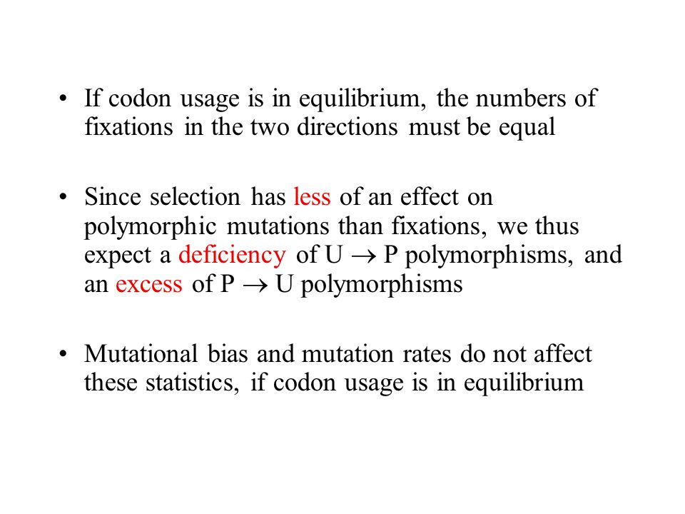 If codon usage is in equilibrium, the numbers of fixations in the two directions must be equal