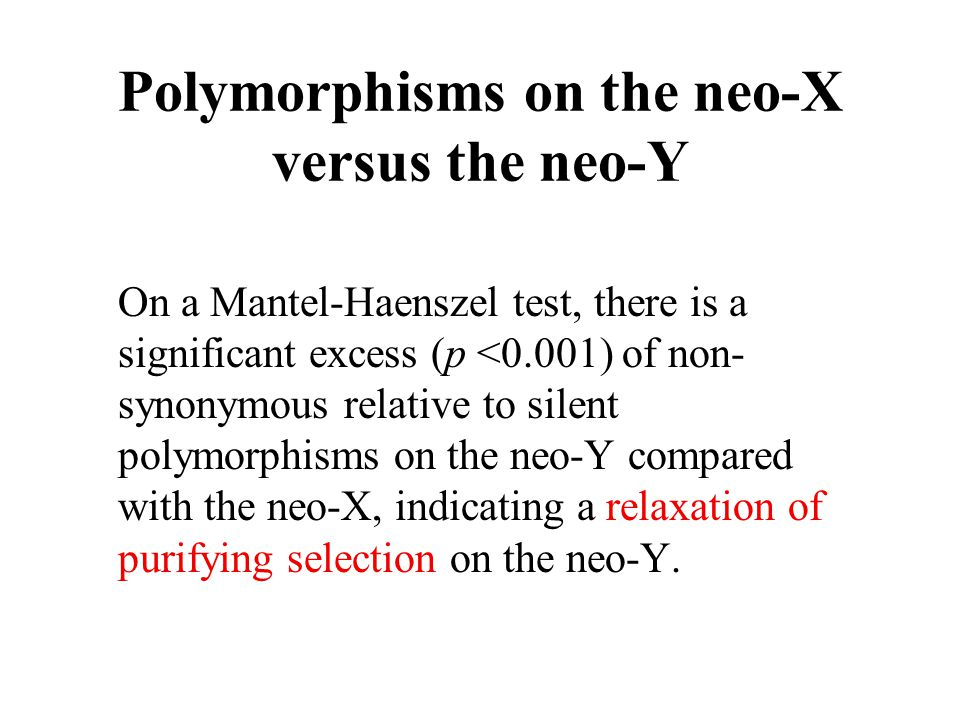 Polymorphisms on the neo-X versus the neo-Y