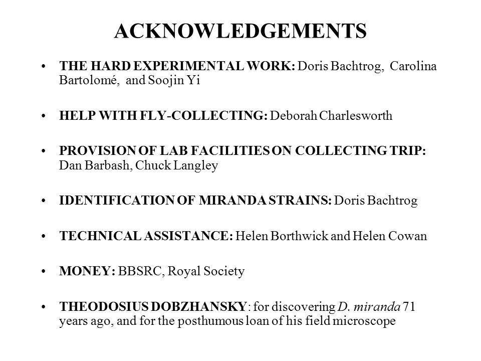 ACKNOWLEDGEMENTS THE HARD EXPERIMENTAL WORK: Doris Bachtrog, Carolina Bartolomé, and Soojin Yi. HELP WITH FLY-COLLECTING: Deborah Charlesworth.