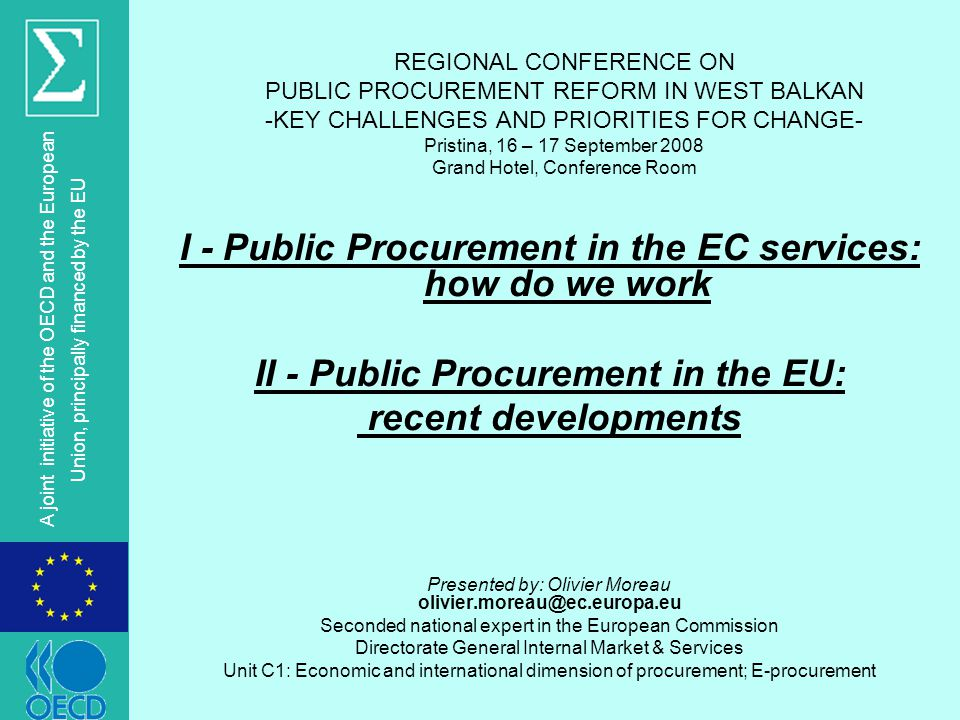 I - Public Procurement in the EC services: how do we work