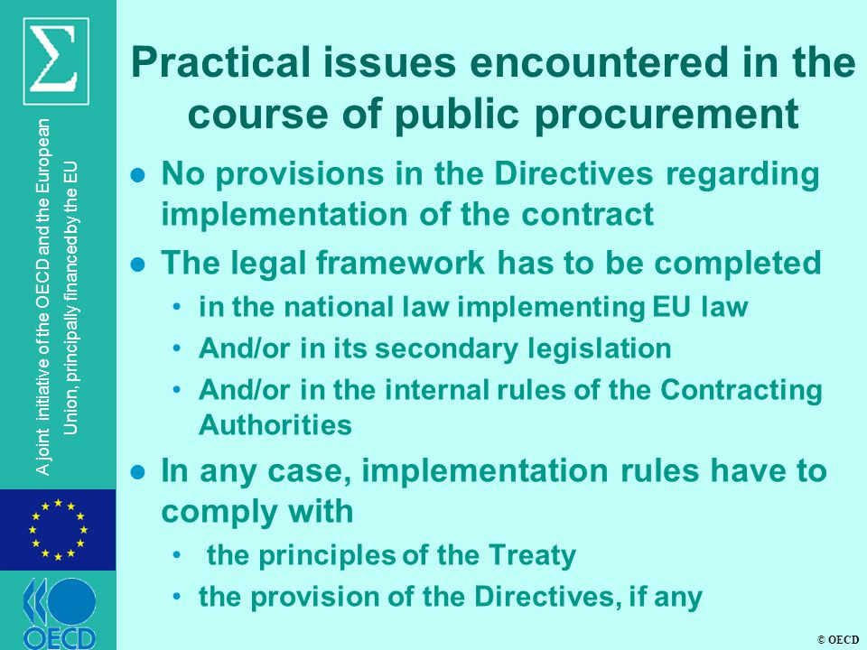 Practical issues encountered in the course of public procurement