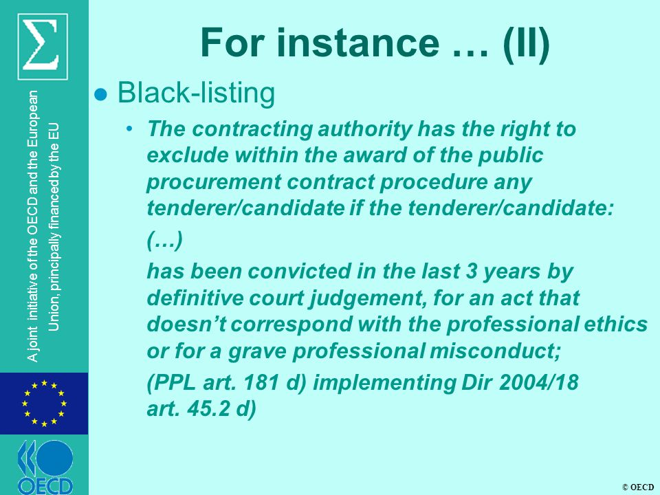 For instance … (II) Black-listing