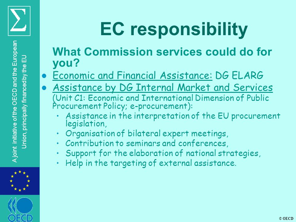 EC responsibility What Commission services could do for you