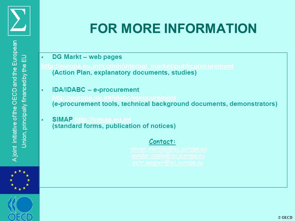 FOR MORE INFORMATION DG Markt – web pages