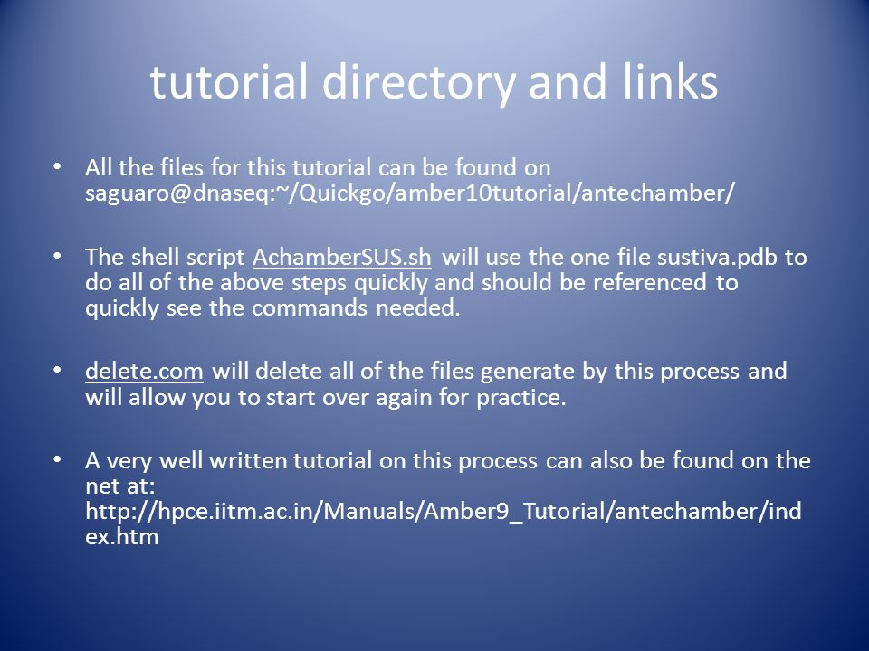tutorial directory and links