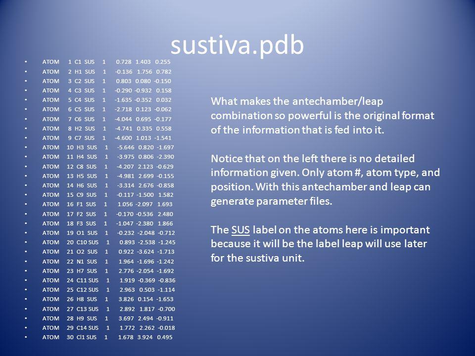 sustiva.pdb ATOM 1 C1 SUS 1 0.728 1.403 0.255. ATOM 2 H1 SUS 1 -0.136 1.756 0.782.