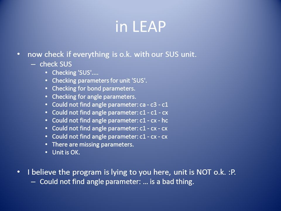 in LEAP now check if everything is o.k. with our SUS unit.