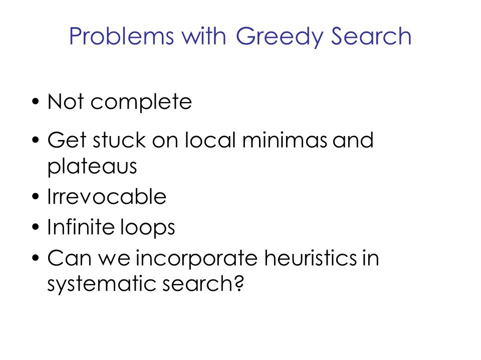 Problems with Greedy Search