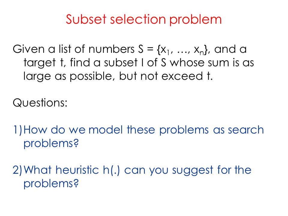 Subset selection problem