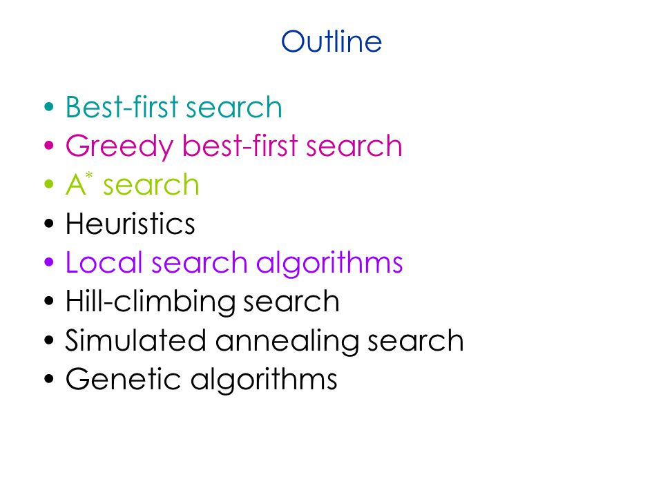 Outline Best-first search. Greedy best-first search. A* search. Heuristics. Local search algorithms.