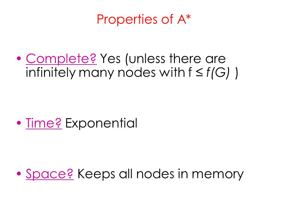 Properties of A* Complete Yes (unless there are infinitely many nodes with f ≤ f(G) ) Time Exponential.