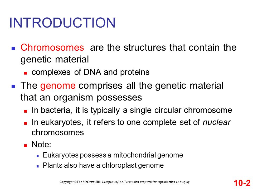 INTRODUCTION Chromosomes are the structures that contain the genetic material. complexes of DNA and proteins.