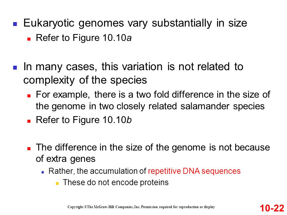 Eukaryotic genomes vary substantially in size