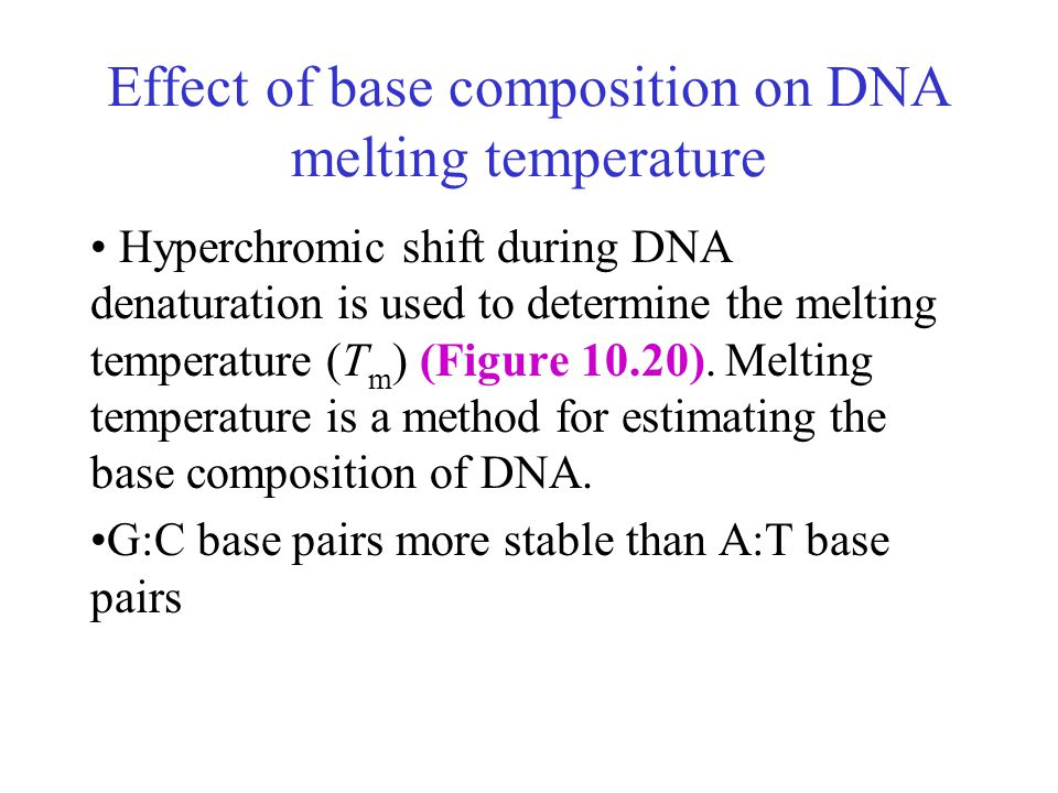 Effect of base composition on DNA melting temperature