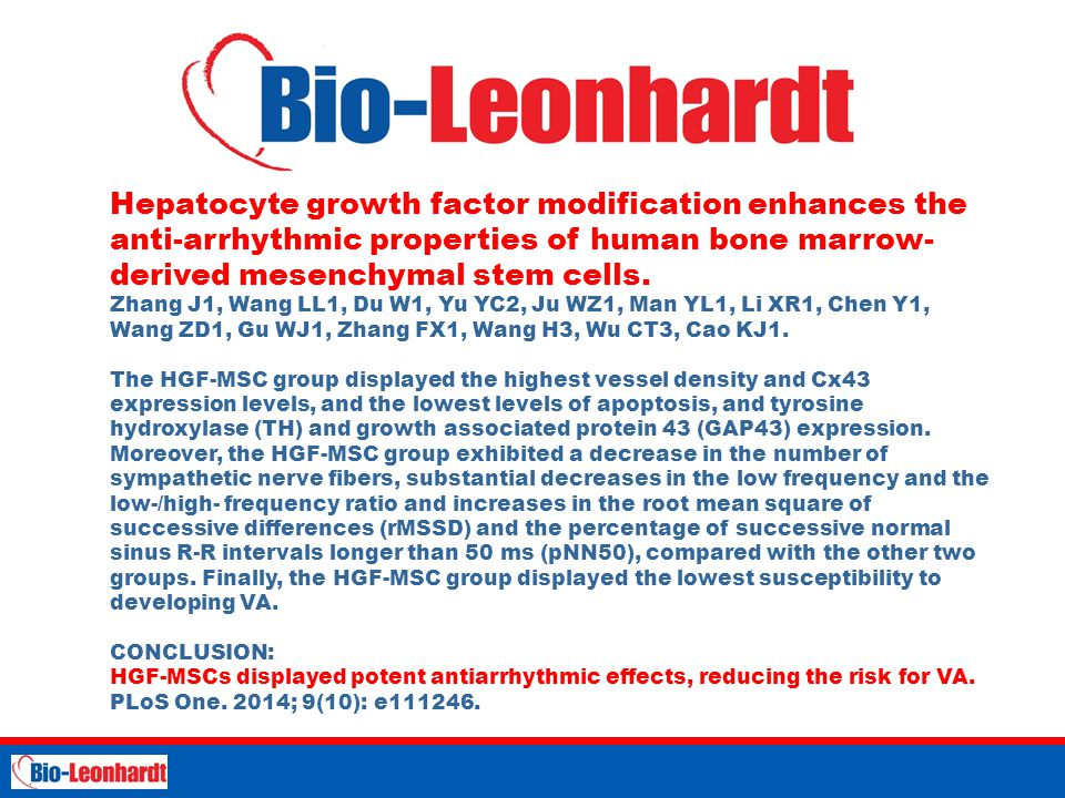 Hepatocyte growth factor modification enhances the anti-arrhythmic properties of human bone marrow-derived mesenchymal stem cells.