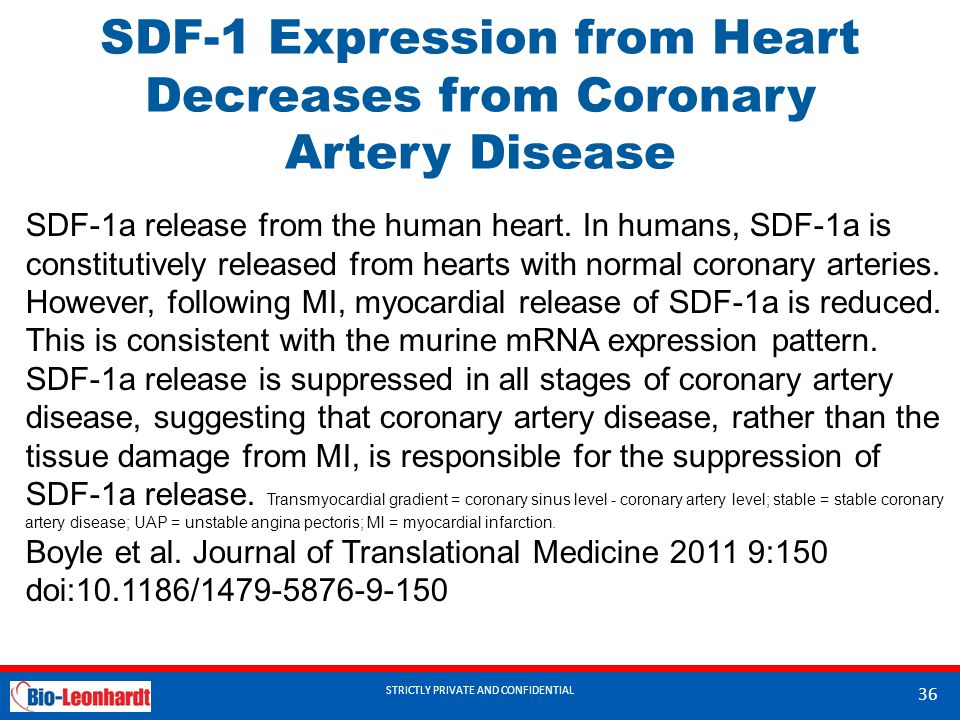 SDF-1 Expression from Heart Decreases from Coronary Artery Disease