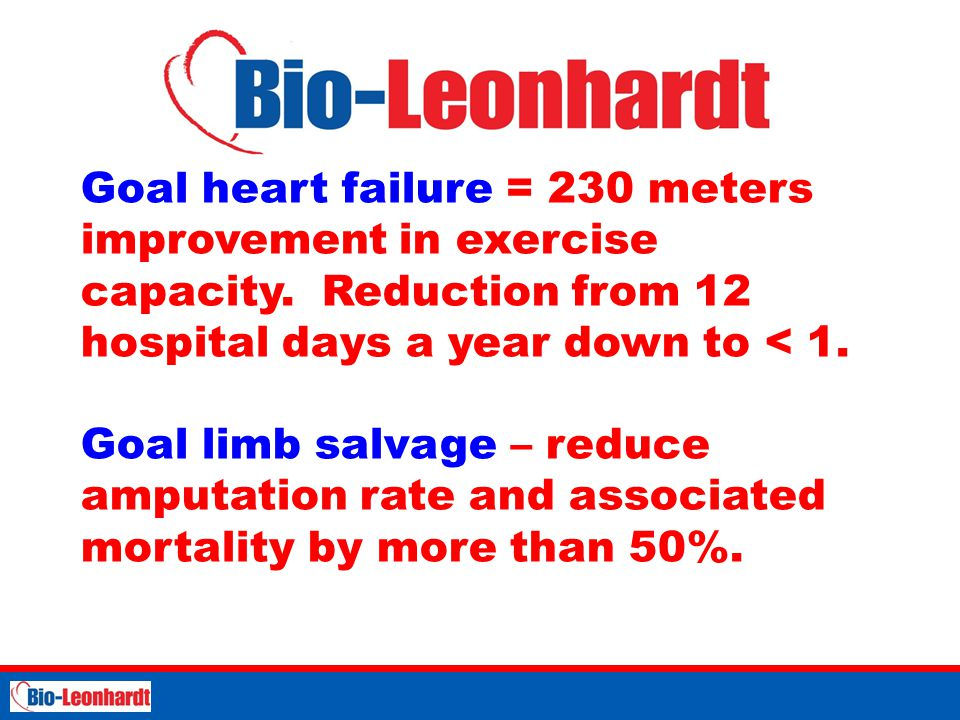 Goal heart failure = 230 meters improvement in exercise capacity