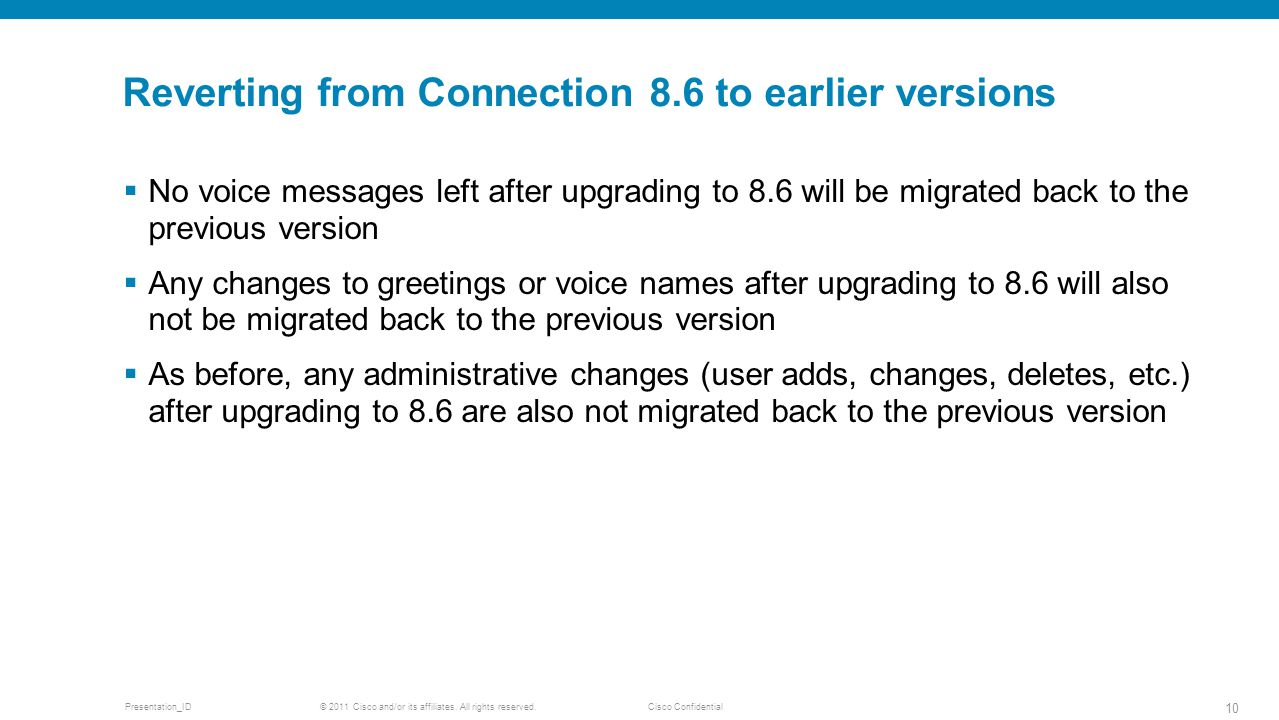 Reverting from Connection 8.6 to earlier versions