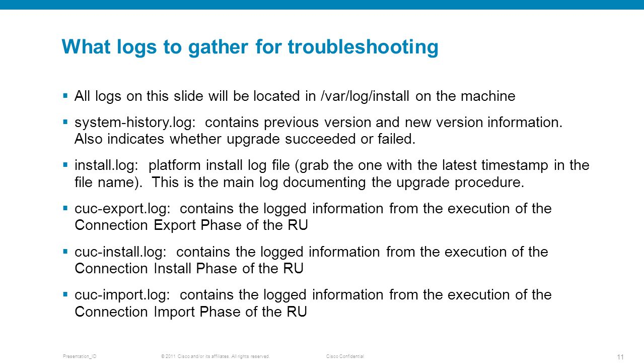 What logs to gather for troubleshooting