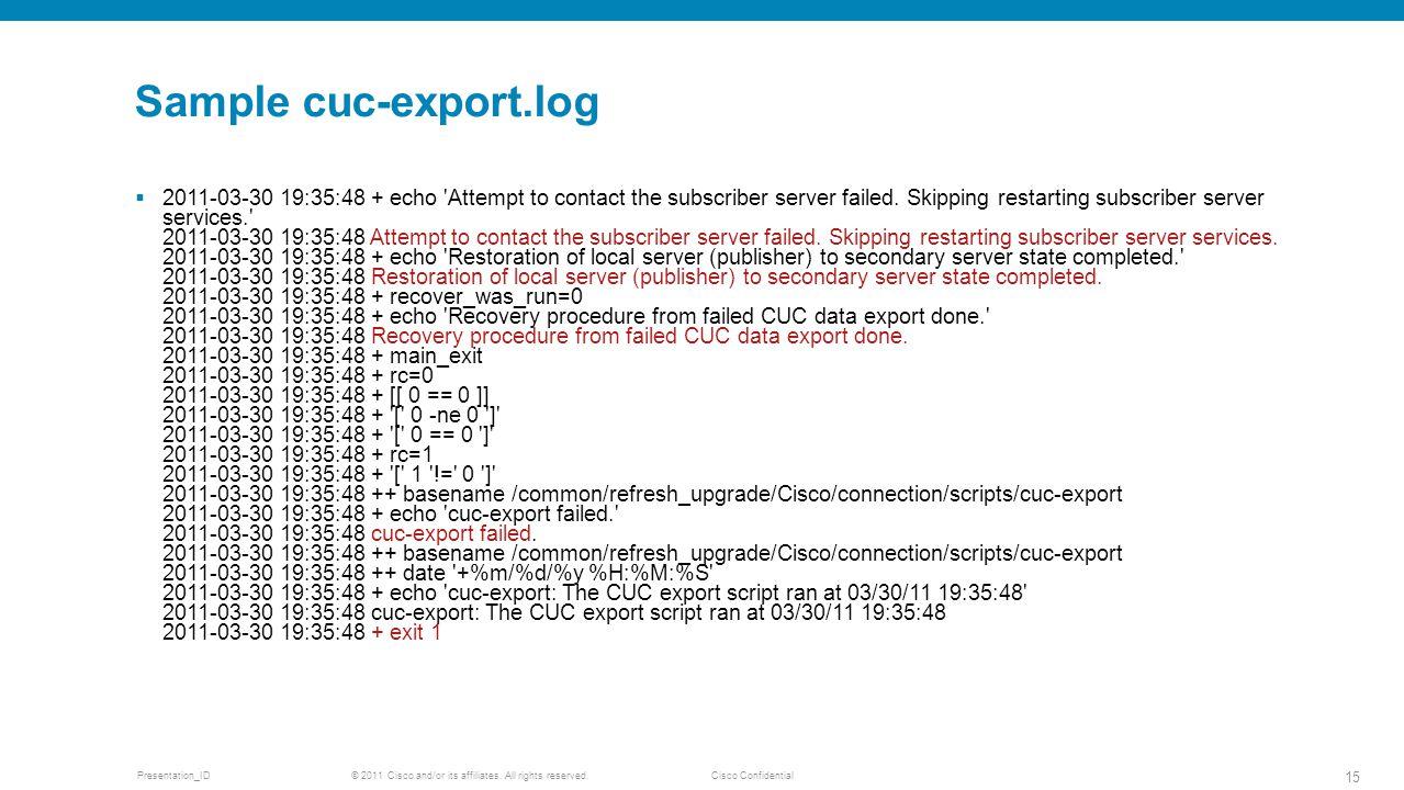 Sample cuc-export.log
