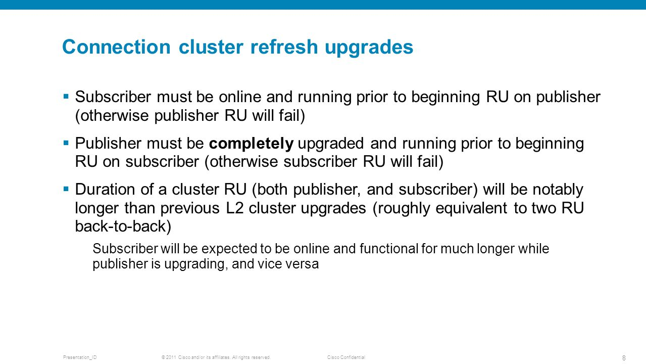 Connection cluster refresh upgrades