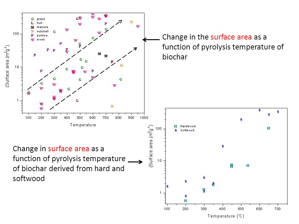 Change in the surface area as a function of pyrolysis temperature of biochar