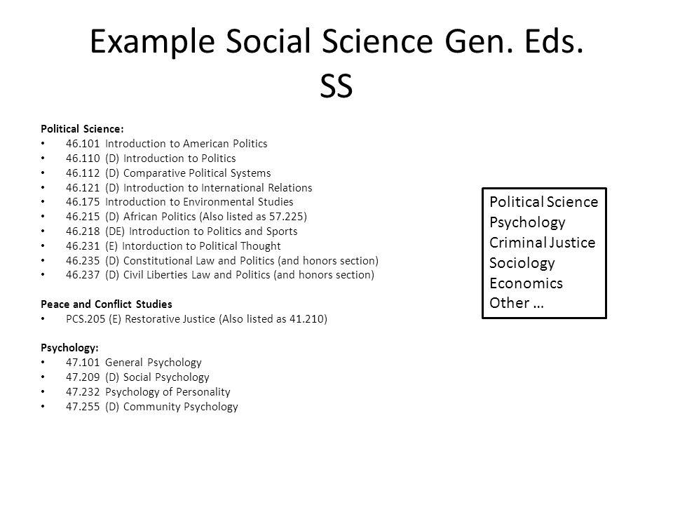 Example Social Science Gen. Eds. SS