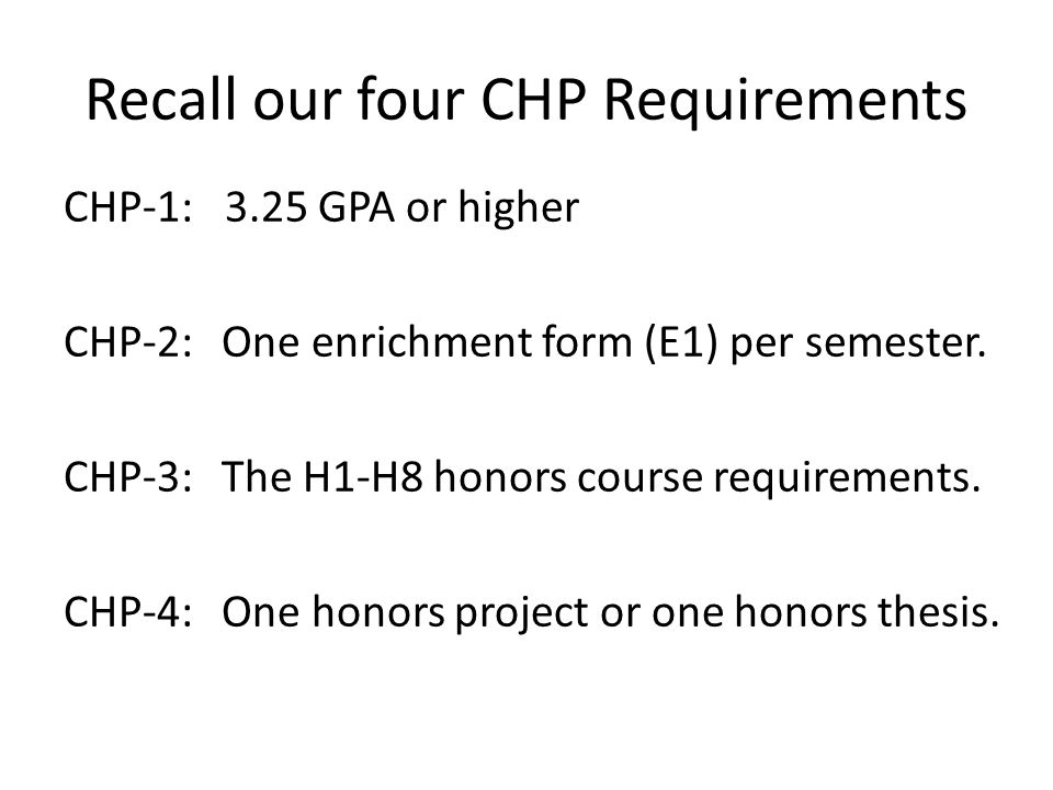 Recall our four CHP Requirements