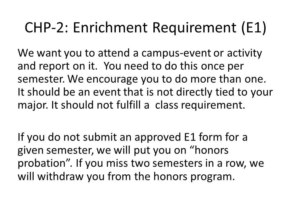 CHP-2: Enrichment Requirement (E1)