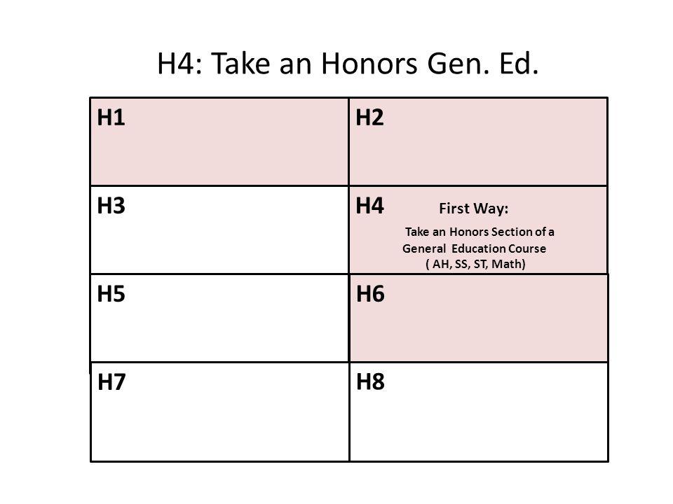 H4: Take an Honors Gen. Ed. H1 H2 H3 H4 First Way: H5 H6 H7 H8
