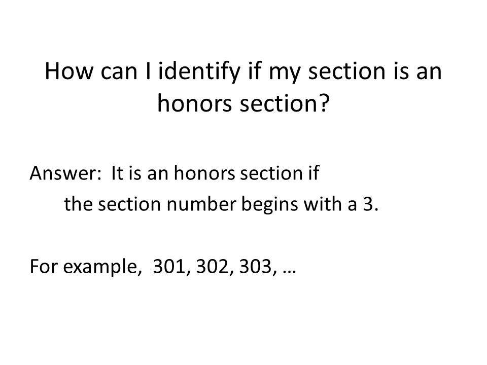 How can I identify if my section is an honors section