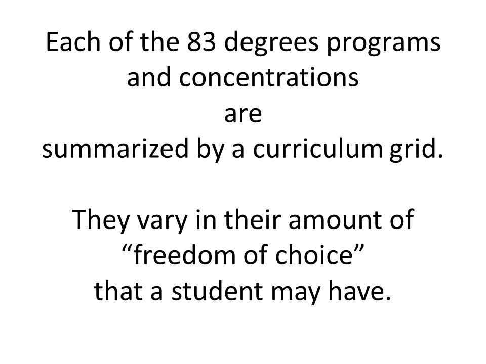 Each of the 83 degrees programs and concentrations are summarized by a curriculum grid.