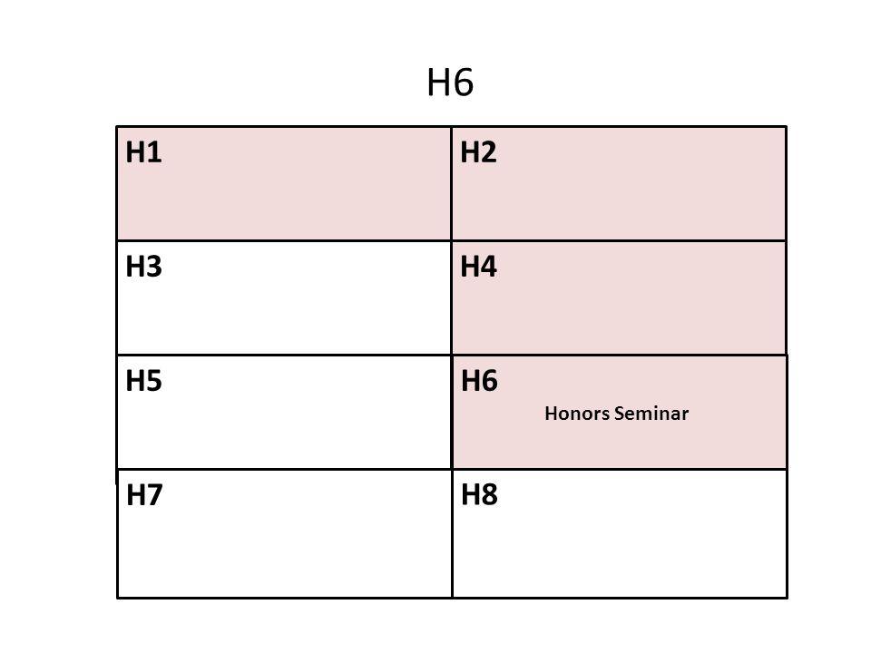H6 H1 H2 H3 H4 H5 H6 Honors Seminar H7 H8